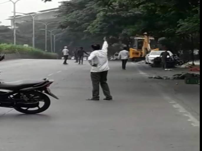 Gas pipeline ruptured at Jaydev Nagar near Rajaram bridge   सिंहगड रस्त्यावरील राजाराम पुलाजवळ असणाऱ्या जयदेव नगर येथे गॅस पाईप लाईन फुटली