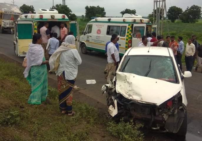 Accident of cars and pickup vans; Five seriously injured | कार व पिकअप व्हॅनची धडक ; नागपूर येथील पाच गंभीर जखमी