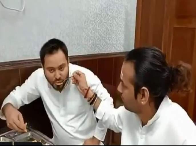 tejashwi yadav tejpratap yadav eat dosa together at bihar vidhan sabha | बंधूप्रेम : तेजस्वी यादवांना मोठा भाऊ तेजप्रताप यांनी भरवला डोसा