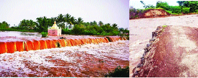 Level of danger crossed by leading river   अग्रणी नदीने ओलांडली धोक्याची पातळी; लोणारवाडीचा पूल गेला वाहून : अनेक ठिकाणी वाहतूक ठप्प