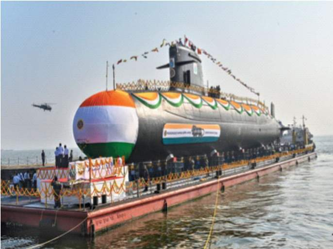 Launching of 'Wagir' submarine   'वागीर' पाणबुडीचे जलावतरण; 'सागरी सीमा रक्षणात माझगाव गोदीचे पाठबळ महत्त्वपूर्ण'