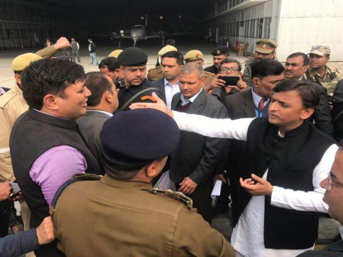 lucknow administration stopped akhilesh yadav at airport who were going to attend allahabad university   अलाहाबाद युनिव्हर्सिटीत जाणाऱ्या अखिलेशना योगी सरकारनं अडवलं, लखनऊ विमानतळावर गोंधळ