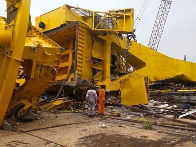 10 Died In Crane Accident At Hindustan Shipyard Limited In Visakhapatnam   VIDEO: मोठी दुर्घटना; आंध्र प्रदेशातील हिंदुस्तान शिपयार्डमध्ये क्रेन कोसळून ११ मजुरांचा मृत्यू