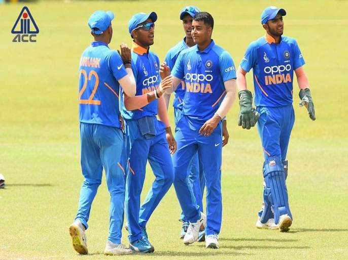 India(U19) are through to the finals at U19 Asia Cup; face Bangladesh(U19) team | आशिया चषक : एकही चेंडू न खेळता भारतीय संघ पोहोचला फायनलमध्ये