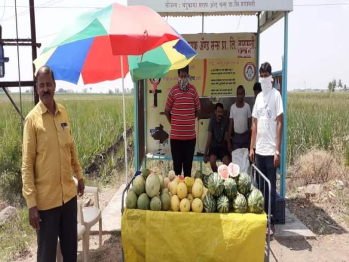 Farmer create a new idea for selling agriculture products in lockdown period | बारामतीत कोरोनामुळे अडचणीत आलेल्या शेतकऱ्यांनी शेतमाल विक्रीसाठी लढविली शक्कल!