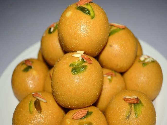 Diwali 2019 : Recipe Of besan laddoo or ladu   Diwali 2019 : फराळासाठी खास खमंग बेसनाचे चवदार लाडू