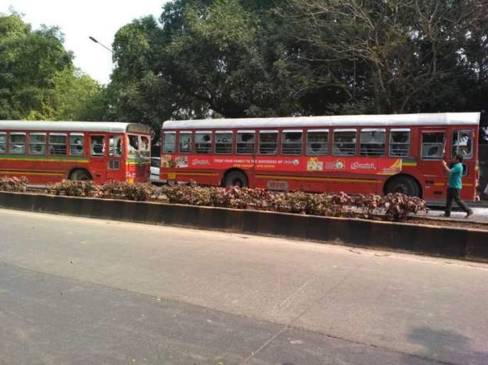 Bharat Bandh: Stone pelting incidents on BEST buses near Vashi naka | Bharat Bandh : आंदोलनकर्त्यांकडून बेस्टच्या बसवर दगडफेक