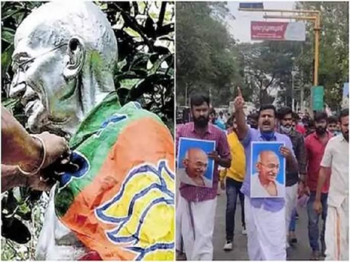 protests in kerala after bjp flag found draped around gandhi statue all you need to know | महात्मा गांधींच्या पुतळ्यावर भाजपाचा झेंडा, विरोधकांचा संताप
