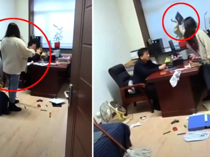 Boss beaten by woman in office, used to send obscene messages | कार्यालयात बॉसला महिलेने झाडूने मारले, अश्लील मेसेजेस पाठवायचा