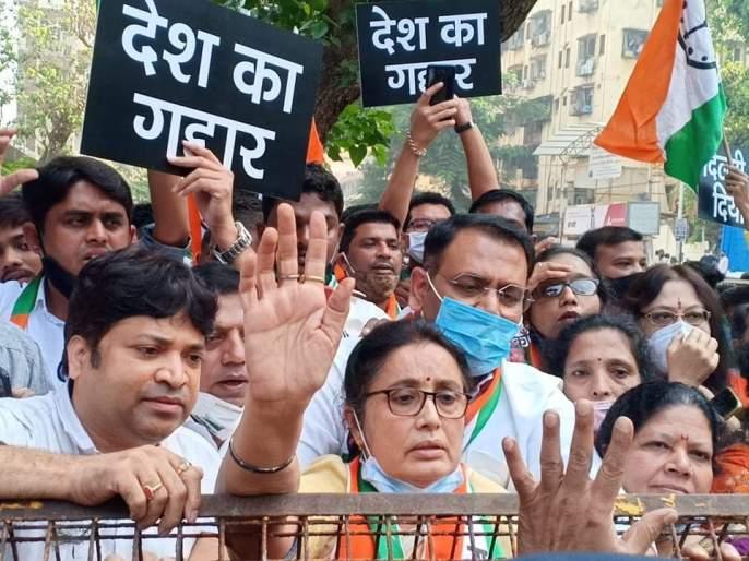Gali gali me shor hai ... NCP's aggressive agitation for the arrest of Arnab Goswami | गली गली मे शोर है... अर्णब गोस्वामींच्या अटकेसाठी राष्ट्रवादीचं आक्रमक आंदोलन