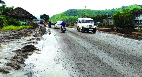 Mumbai-Goa Highway in Rutla Chikhalat; Driving distressed | मुंबई-गोवा महामार्ग रुतला चिखलात; वाहनचालक त्रस्त