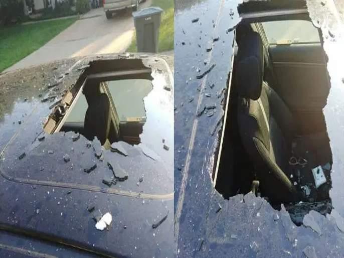 Dry shampoo can blasted in car creates hole through roof   कारमध्ये ब्युटी प्रॉडक्ट ठेवणं पडलं महागात, स्फोट झाल्यावर कारचा चेहरा-मोहराच बदलला!