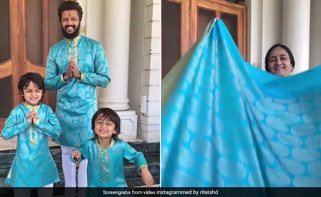 Video: Riteish Deshmukh from his mother's old sari and his children's Diwali dress | Video : आईच्या जुन्या साडीपासून रितेश देशमुख अन् त्याच्या मुलांचा दिवाळी ड्रेस