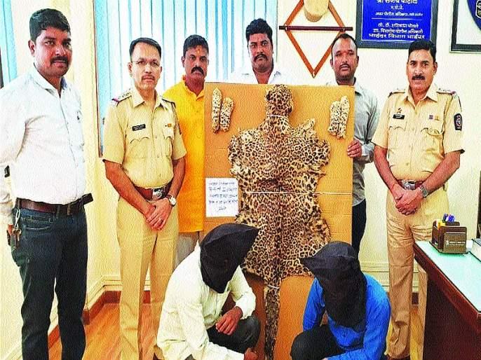 Police have arrested both men with leopards skin | बिबट्याच्या कातडीसह दोघांना केले गजाआड;दहा लाखांची किंमत