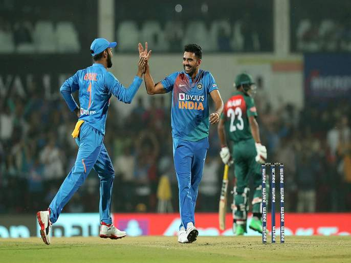 India Vs Bangladesh, 3rd T20I : Deepak Chahar become a first Indian to take hat trick in T20I cricket; registers the best bowling figures in the history | India Vs Bangladesh, 3rd T20I : दीपक चहर जगात अव्वल; 'हा' विक्रम करणारा पहिला भारतीय