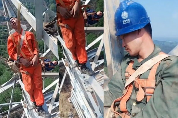 Tired Chinese Workers Sleep On Narrow Steel Bars 160 Feet Above Ground | Video: अबब! 160 फूट उंच विजेच्या खांबावर कामगार चक्क झोपी गेले