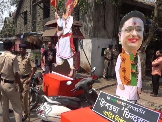 Shreepad Chhindam In the form of third gender controversial poster in Kalyan for Shiv Jayanti | श्रीपाद छिंदम तृतीय पंथीयाच्या रूपात, शिवजयंतीनिमित्त कल्याणमध्ये देखावा