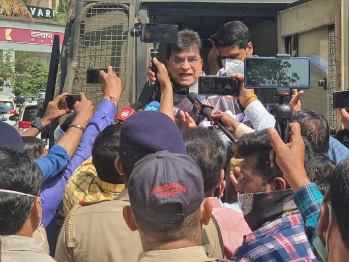 BJP Kirit Somaiya agitation in front of Thane Municipal Corporation against ShivSena Pratap Sarnaik   शिवसेना आमदाराविरोधात भाजपा नेते किरीट सोमय्यांचे ठाणे महापालिकेसमोर आंदोलन