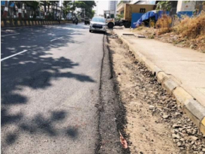 Four feet distance between road and sidewalk while working in Ghansoli area; Negligence in asphalting | घणसोली परिसरात कामे करतानारस्ता व पदपथामध्ये चार फुटांचे अंतर;डांबरीकरणात हलगर्जी