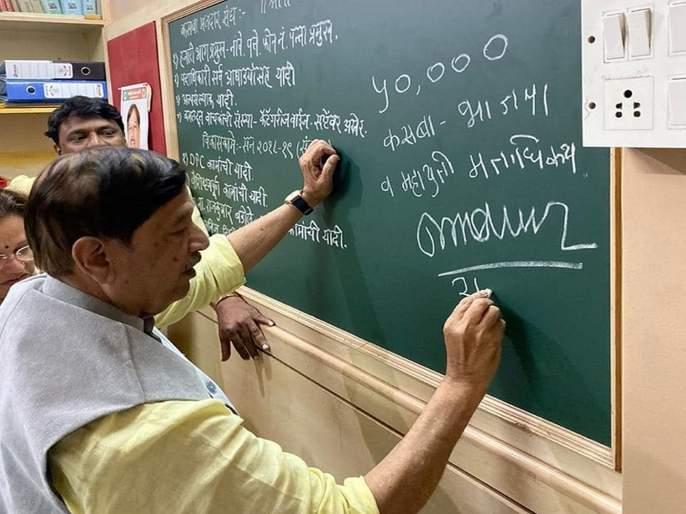 Maharashtra Elections 2019: Mukta Tilak will win with 50000 margin votes; Girish Bapat wrote the figures on the board | महाराष्ट्र निवडणूक २०१९: मुक्ता टिळक यांना ५० हजार मताधिक्य; गिरीश बापटांनी फलकावर लिहिले आकडे