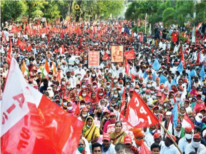 Jai Jawan, Jai Kisan! Farmers' 'red storm' in financial capital Mumbai | जय जवान, जय किसान!आर्थिक राजधानी मुंबईत शेतकऱ्यांचे 'लाल वादळ'