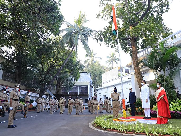 Flag hoisting by hands of Chief Minister Uddhav Thackeray at Varsha Niwas, while by hands of Deputy CM at Police Ground in Pune   मुख्यमंत्री उद्धव ठाकरे यांच्या हस्ते वर्षा येथे, तर उपमुख्यमंत्र्यांच्या हस्ते पुण्यातील पोलीस संचलन मैदानावर ध्वजारोहण
