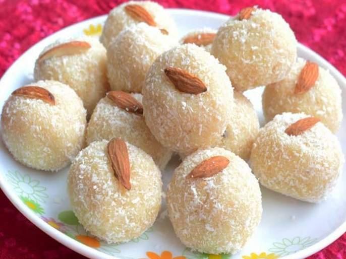 Ganesh Utsav Special Recipe coconut laddoo or khobryache ladooo   Ganesh Utsav Special Recipe : नैवेद्यासाठी गोड गोड खोबऱ्याचे लाडू