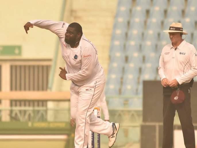 AFGvsWI: Rahkeem Cornwallbecame the first West Indian spinner to claim a ten wicket haul in a Test match in the subcontinent   AFGvsWI : वेस्ट इंडिजच्या गोलंदाजाची 'वजनदार' कामगिरी; असा विक्रम कोणाला जमला नाही