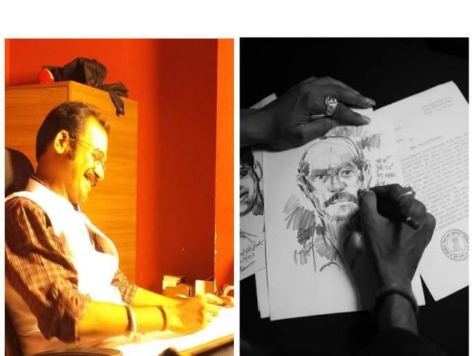 his lines took shape and found hundreds of criminals ; story of Artist Girish Charavad | त्याच्या रेषांनी घेतला आकार आणि सापडले शेकडो गुन्हेगार