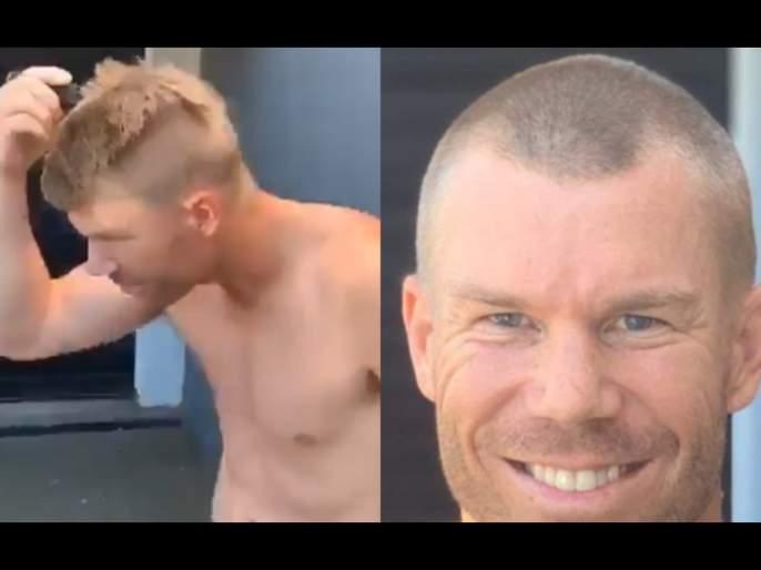 David Warner shaves off his head in support of medical workers; nominates Virat Kohli svg | Corona Virus : डेव्हिड वॉर्नरचा 'वैदिक' पाठिंबा, विराट कोहलीला दिलं चॅलेंज