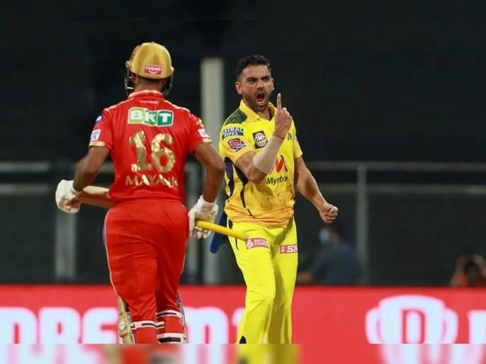 IPL 2021, CSK vs PBKS T20 Live : Deepak Chahar 4-13 in 4 overs; brillient Run out & catch from Ravindra Jadeja, Video | IPL 2021, CSK vs PBKS T20 Live : दीपक चहरचा 'कहर, पंजाबचा निम्मा संघ माघारी; रवींद्र जडेजा बनला 'सुपर मॅन', Watch Video