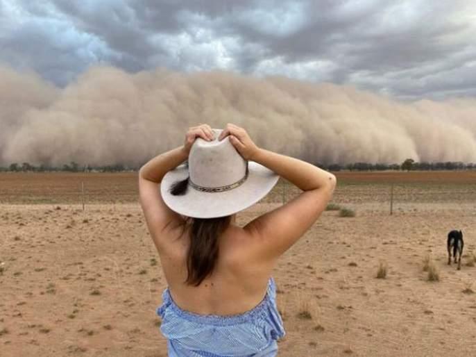 After fire pics of dust storm in Australia goes viral   Video : आगीच्या तांडवानंतर आता ऑस्ट्रेलियात आलं वाळूचं वादळ, व्हिडीओ पाहून उडेल तुमचा थरकाप!