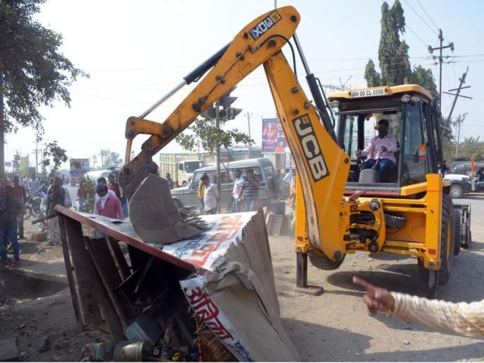 In Hingoli city encroachment remove campaign starts again | हिंगोली शहरात नगरपालिकेची पुन्हा अतिक्रमण हटाव मोहीम