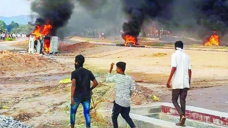 Agitation violent in Rajasthan; One killed   राजस्थानात आंदोलन हिंसक; एक ठार