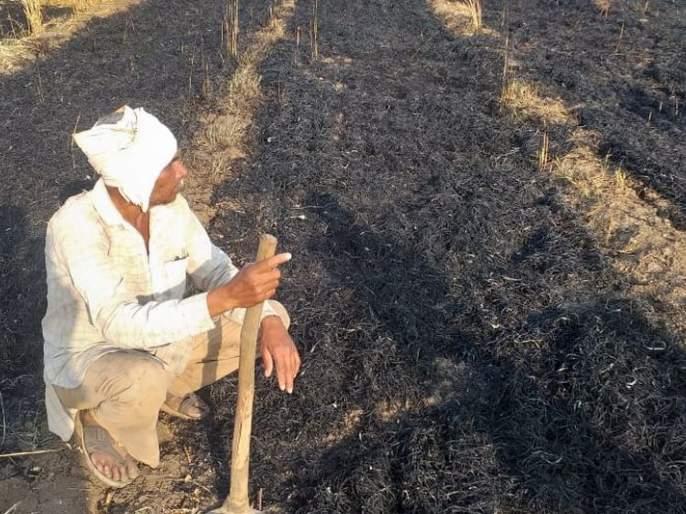 Four acres of wheat crop on fire in Raikhed | रायखेड येथील शेतकऱ्याच्या चार एकर गहू पिकाला आग