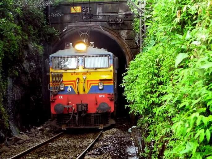 Konkan Railway stopped due to landslide at khajne tunnel   पेडणेनजीक खाजने बोगद्यात भींतीचाभाग कोसळल्याने कोकण रेल्वे ठप्प
