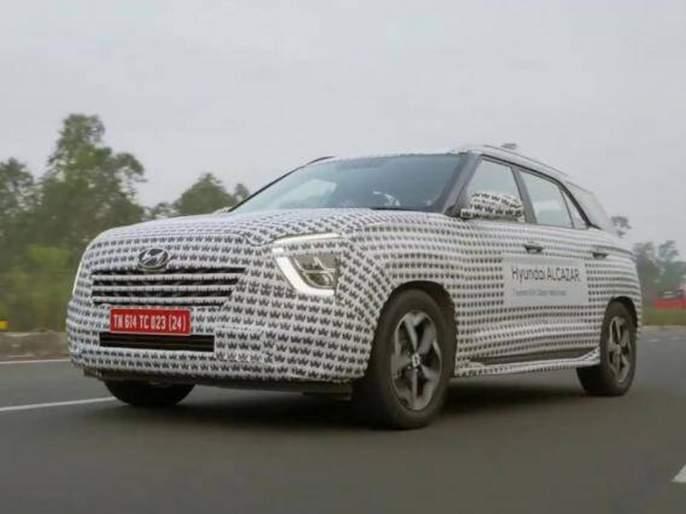 Hyundai Alcazar SUV in Trend before launch; Will make Global Debut Today In India   क्रेटाच्या भव्य यशानंतर ह्युंदाई घेऊन येत आहे... 7 सीटर Hyundai Alcazar