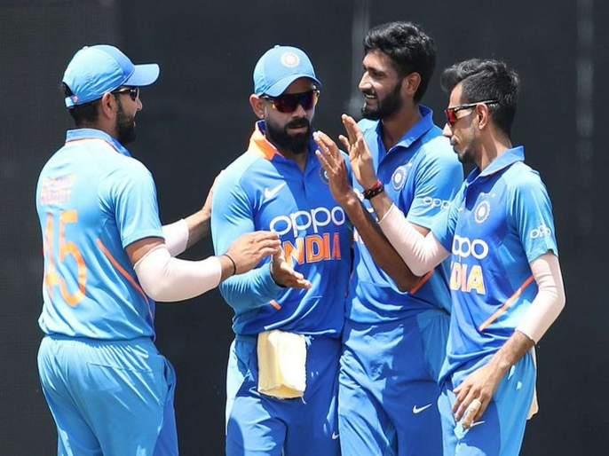 India vs West Indies: a target for Team India is 255 runs in 35 overs | India vs West Indies : गेल-लेविसच्या धडाकेबाज खेळानंतर भारताने वेस्ट इंडिजला रोखले