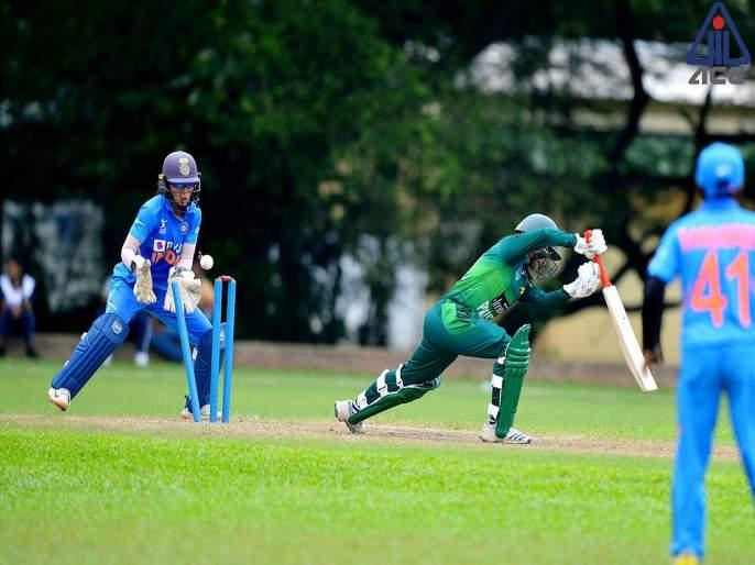 Women Emerging Asia cup; Indian skipper Devika Vaidya leads the bowling attack with 4/23 as Pakistan are bowled out for 106 in 46.5 overs | India vs Pakistan : भारतानं पाकिस्तानला 106 धावांत गुंडाळलं; फिरकीच्या तालावर नाचवलं