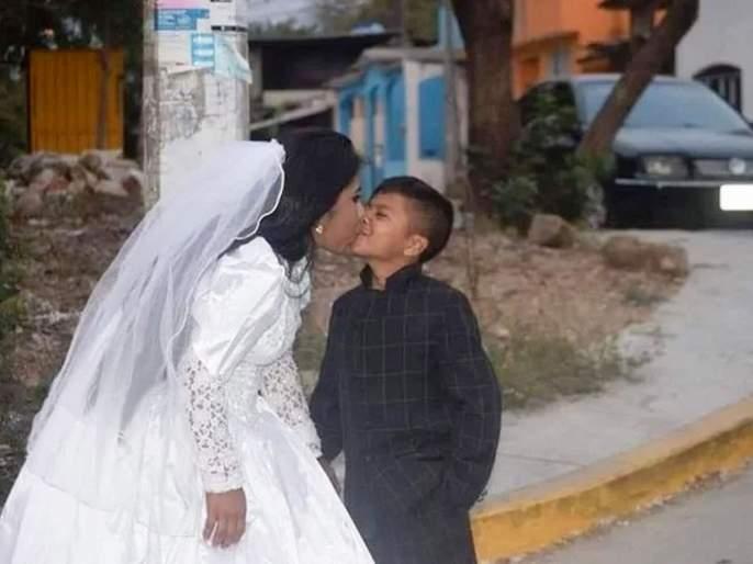 Truth behind the viral photos of young boy marrying adult woman and its emotional | 'या' व्हायरल फोटोवरून रंगलीये चुकीची चर्चा, सत्य काही वेगळंच!