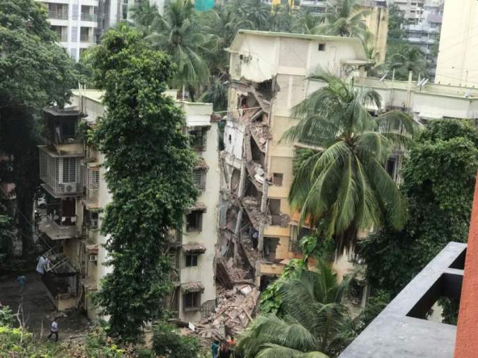 Part of Pooja Apartment Building collapsed on Khar Road No.17 | Mumbai Building Collapse : खारमध्ये पाच मजली इमारतीचा भाग कोसळला