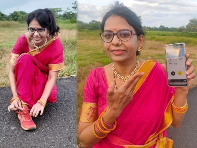 Goa's girl Kavita ran in 'Lokmat Virtual Run'! | 'लोकमत व्हर्च्युअल रन'मध्ये नऊवारीत धावली गोव्याची कविता!