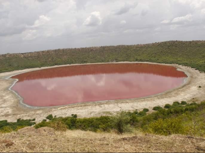Ah wonder ... the water of Lonar lake turned red! | अहो आश्चर्यम...लोणार सरोवराचे पाणी झाले लाल !