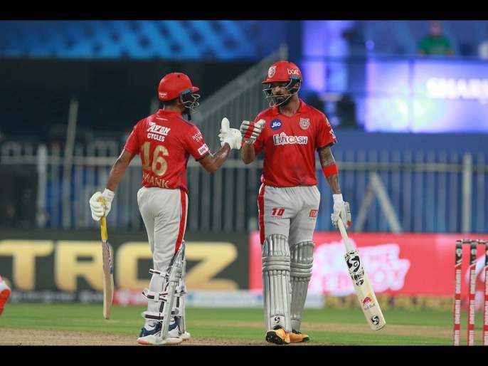 RR vs KXIP Latest News: Mayank Agarwal (106), KL Rahul (69) power Kings XI Punjab to 223/2 against Rajasthan Royals in Sharjah | RR vs KXIP Latest News : मयांक-लोकेशनं RRला धु धु धुतले; KXIPनं तगडं आव्हान उभं केलं