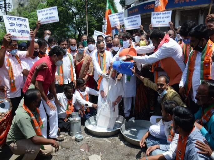 BJP's milk anointing of Sharad Pawar's image for milk price hike | दुध दरवाढीसाठी भाजपचा शरद पवार यांच्या प्रतिमेला दुग्धाभिषेक