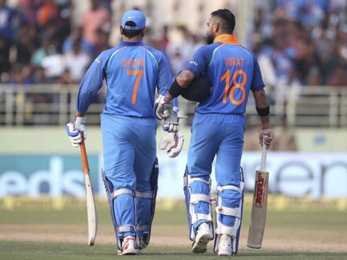 ICC World Cup 2019 : Virat Kohli explains why MS Dhoni was sent to bat at No. 7 in semi-final against New Zealand | ICC World Cup 2019 : महेंद्रसिंग धोनीला सातव्या क्रमांकावर का पाठवलं; कोहलीनं सांगितलं लॉजिक
