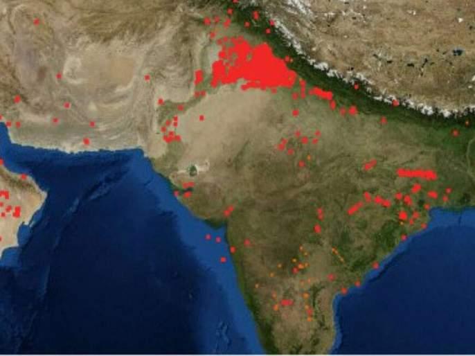 nasa images show spurt in crop burning in punjab and haryana | पंजाब-हरयाणात वाढतायत शेतातील कडपे जाळण्याचे प्रकार, नासाकडून फोटो प्रसिद्ध
