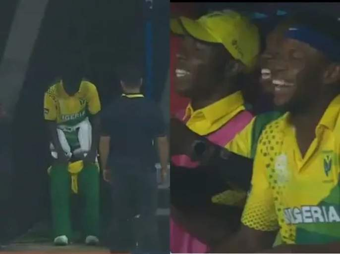 WATCH: Nigerian batsman stops batting, races off the ground to attend 'nature's call' | Video : लघुशंका आल्यावर बॅट्समन खेळ सोडून मैदानाबाहेर सुसाट धावू लागला अन्....