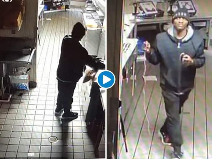 Burglar breaks into a restaurant eats and sleeps before theft | Video : रेस्टॉरन्टमध्ये चोरी करण्याआधी चोराने जे केलं ते पाहून लोटपोट होऊन हसाल!