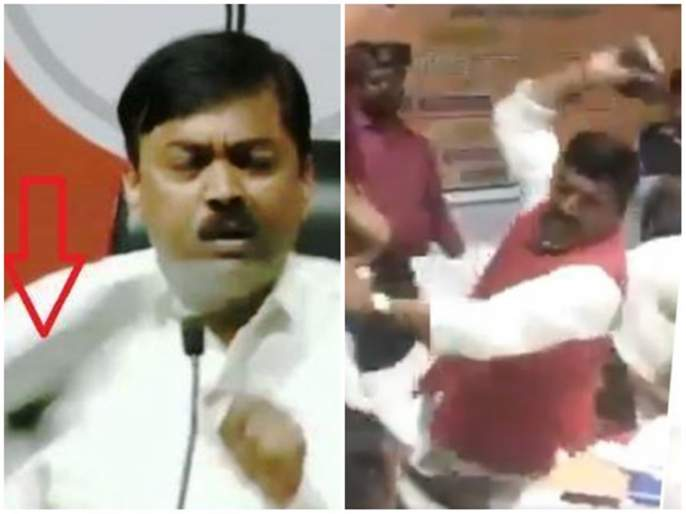 Lok Sabha Election bjp spokesman jvl narasimha rao thrown at shoe | 'बूटफेक' फेऱ्यात भाजप